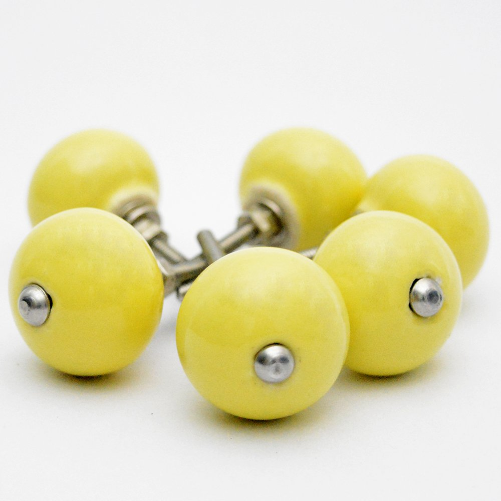 Pastel Country Pack of 6 Yellow Classic Ceramic Round Knobs Pulls Handles for Cabinets Drawer Dresser Closet Wardrobe Cupboard Kitchen Door Furniture by Pastel Country