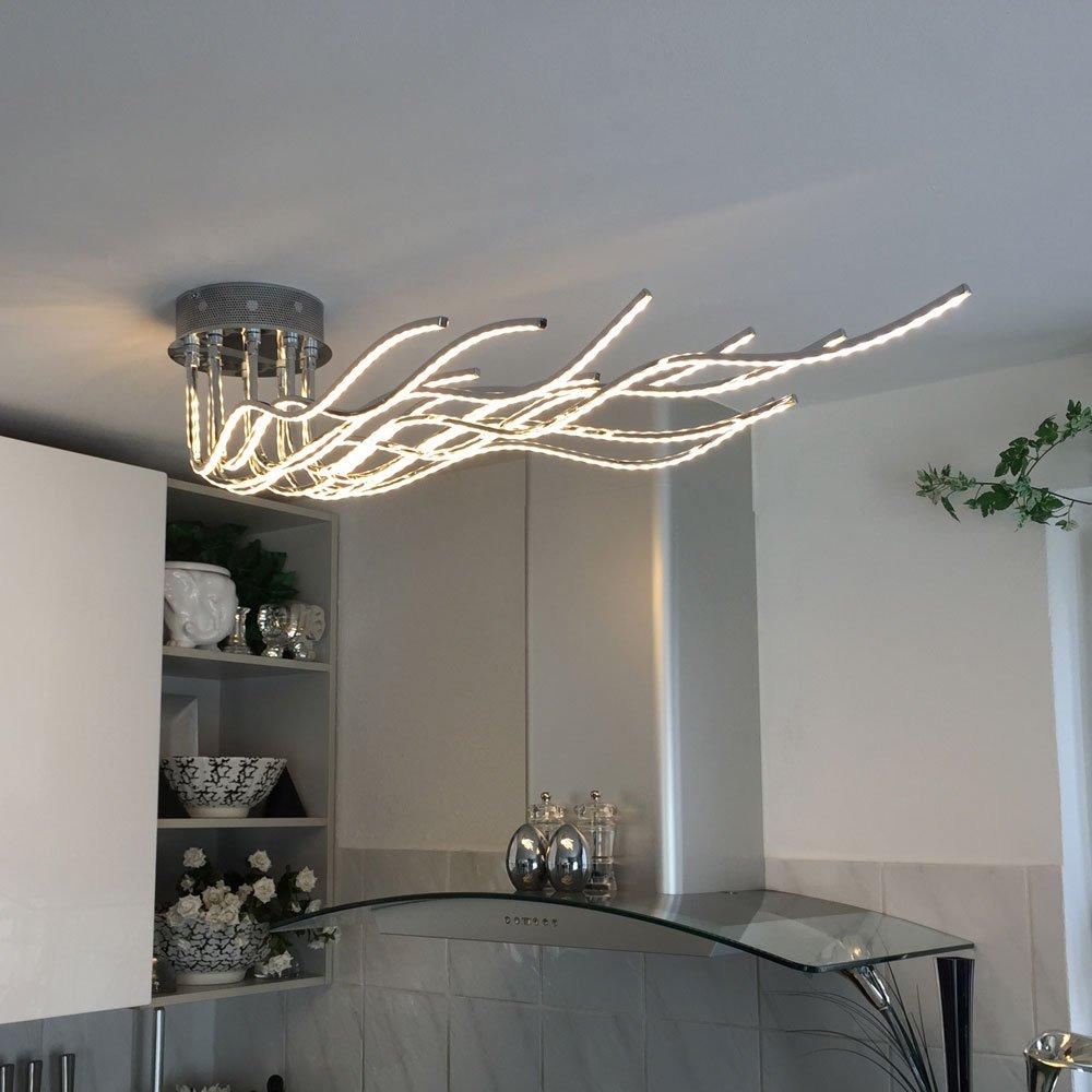 LICHT TREND Sculli LED Deckenleuchte 2800 Lumen 150 Cm Chrom Amazonde Beleuchtung