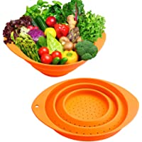 Collapsible Colander,Silicone Food Strainer Set of 2 with Handles,Portable Veggies Fruits Drainer,Kitchen Food Steam Basket Pasta Sieve Colander for Camping,Travel,Picnic, Boat(Orange)