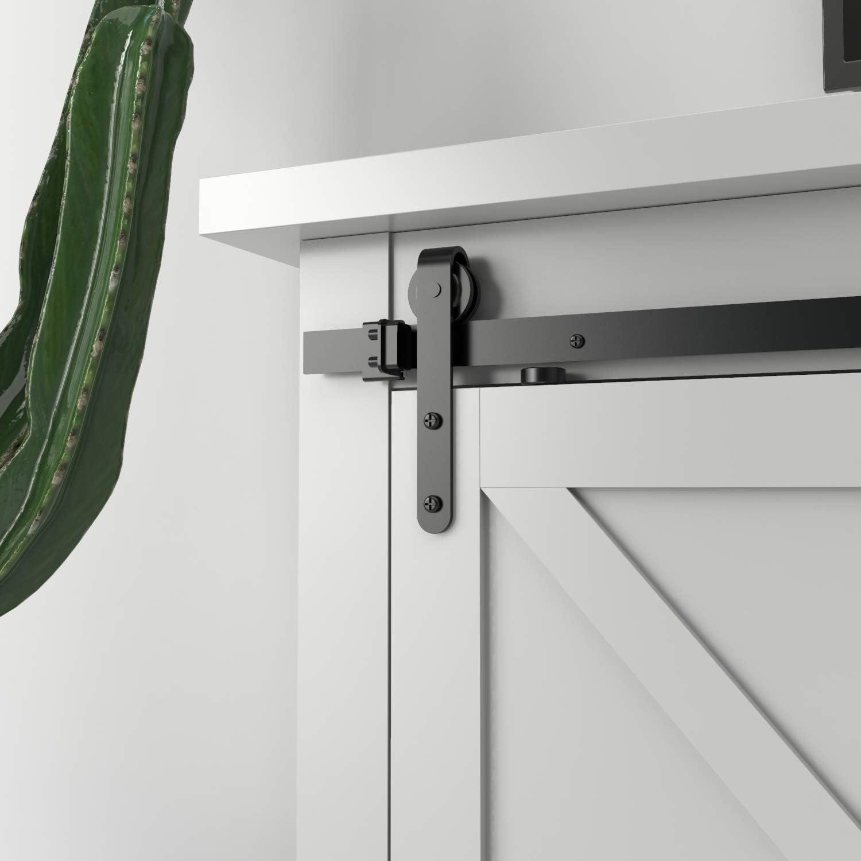 negro Herrajes con ra/íles para puertas de armario de madera de estilo r/ústico tipo peque/ño granero en negro de Isasar