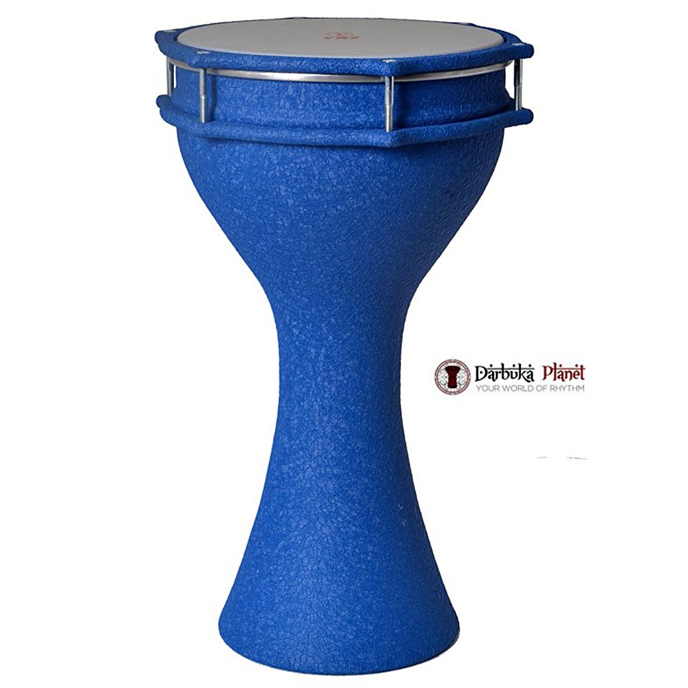 Zaza Percussion - The 17'' Crocodile Leather Finish Aluminum Darbuka Doumbek, Synthetic Head (BLUE)