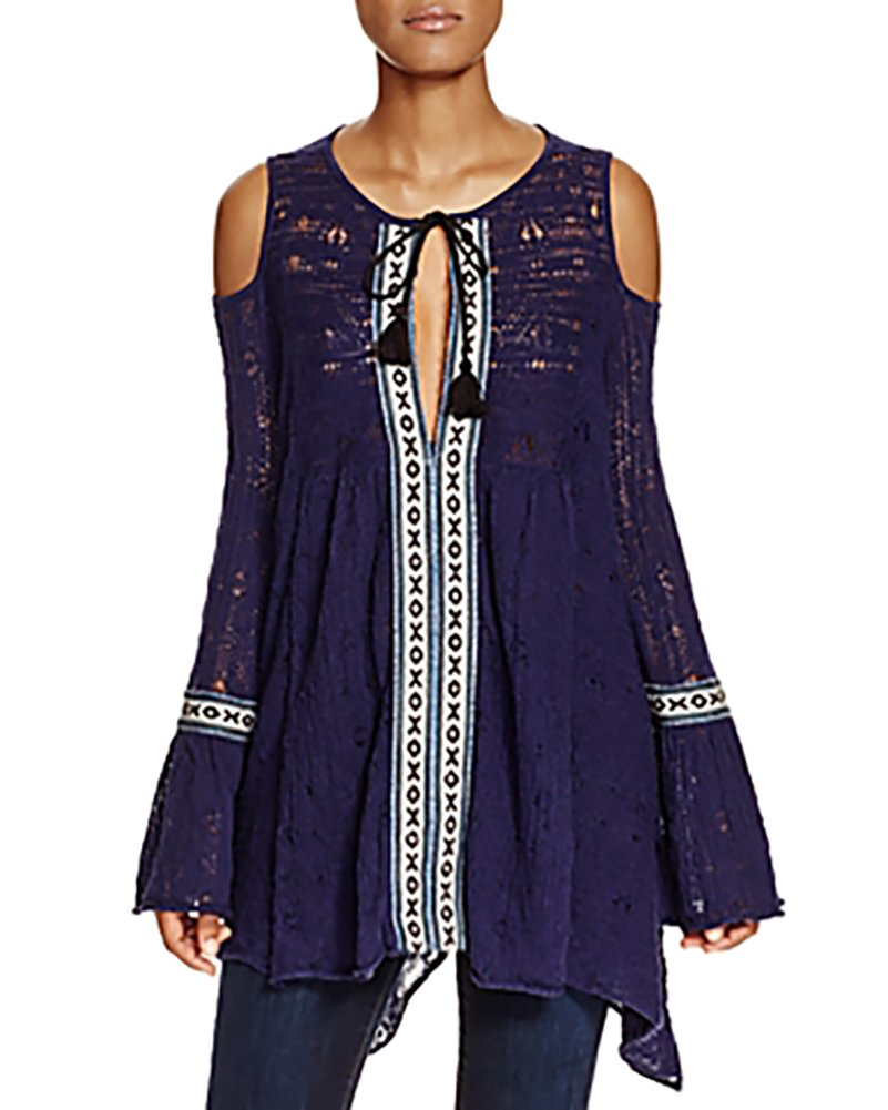 Free People 'For the Love of Flowers' Cold Shoulder Tunic, Size Medium