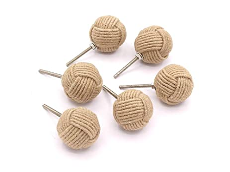 RII Twested Jute Rope Door Knobs/Rope Knot Drawer Pulls And Knobs/Pull And