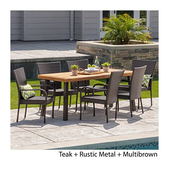 Christopher Knight Home Leopold Outdoor 7-Piece Acacia Wood/Wicker Dining Set | with Teak Finish | in Multibrown, Rustic Metal - The beautiful blend of wood and wicker comes to life with this dining Set, complete with six stacking wicker dining chairs, you can enjoy eating in your backyard whenever you want, The wooden table is treated to withstand even the harshest of seasons, ensuring your Set looks great all year long, The rectangular table ensures that there is enough space for both food and people, meaning no one leaves the table hungry Includes: one (1) table and six (6) chairs Table material: Acacia wood | table leg Material: iron | chair Material: faux wicker | chair frame material: iron | table top finish: teak | table leg Finish: rustic metal | wicker finish: - patio-furniture, dining-sets-patio-funiture, patio - 61e7xhnh8IL. SS570  -
