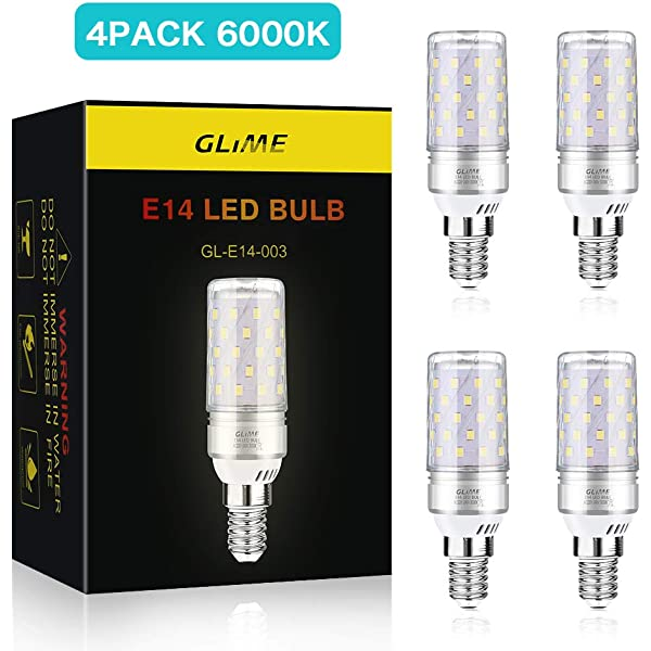 Glime - Bombilla LED E14 de 12 W, equivalente a halógeno de 50 W, 1400 lm, 4 unidades CA 220-240 V, no regulable, 360°, ángulo de haz para campana extractora, lámpara de noche de cocina: Amazon.es: Iluminación