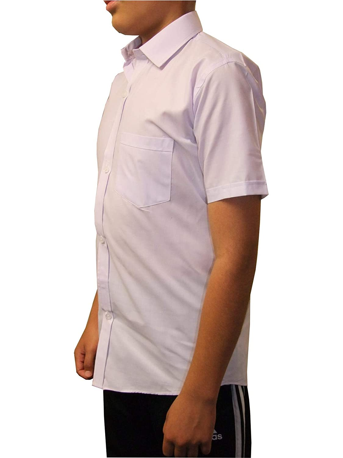Apparel Boys Kids Short Sleeve School Shirt Button up Uniform White 2 Pack 5 to 13 Years