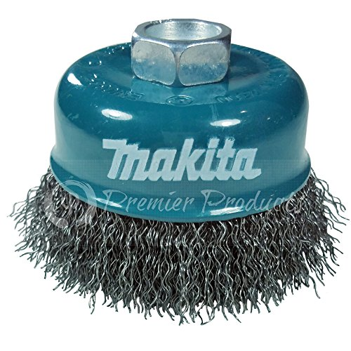 "Makita 1 Piece - 3 Inch Crimped Wire Cup Brush For Grinders - Light-Duty Conditioning For Metal - 3"" x 5/8-Inch 