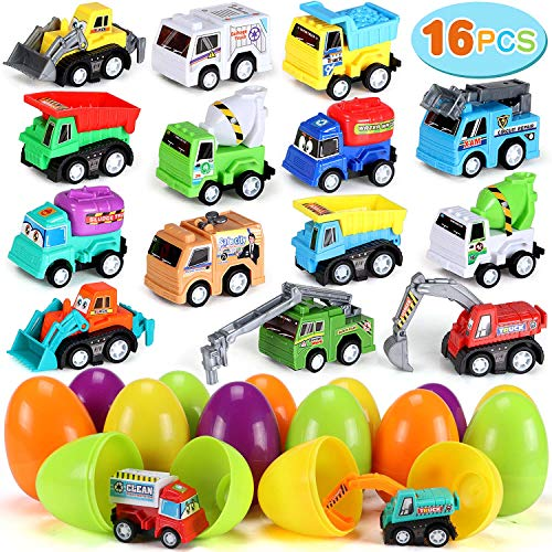 16 PCS Jumbo Easter Eggs Easter Basket Stuffers Fillers Kids Easter Party Favors Plastic Surprise Eggs Filled with Toys Pull-Back Construction Vehicles