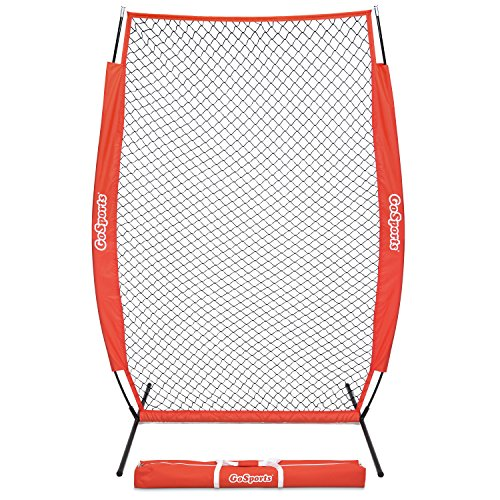 GoSports 7' x 4' I-Screen | Baseball & Softball Pitching Screen Net | Must Have for Safe Training - Includes Foldable Bow Frame and Portable Carry Bag ()