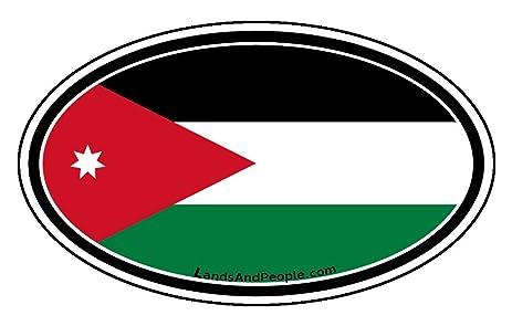 Jordan flag middle east kingdom car bumper sticker decal oval