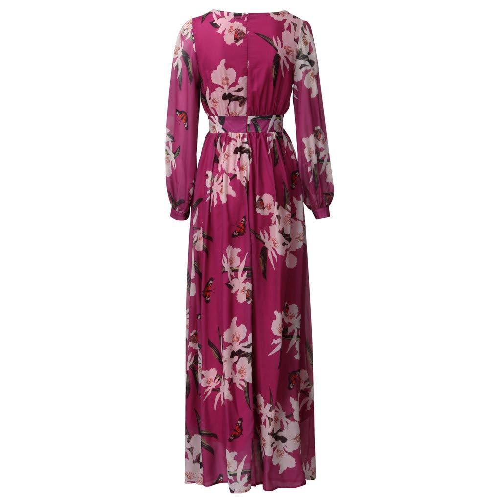Ultramall Women Fashion Bohemian Floral Printed V Neck Long Sleeve Pleated Chiffon Dress(Hot Pink,M) by Ultramall (Image #6)