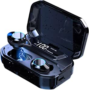 Wireless Earbuds, ZHAM TWS Bluetooth 5.0 Headphones with 125H Playtime IPX7 Waterproof Sports Headphones, 6D Stereo Sound Touch Control Bluetooth Earbuds Built-in Mic in-Ear Headset with 3300mAh Charging Case (Black)