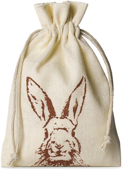 10 bolsitas de algodón con motivo de conejo y cordón, tamaño 15x10 cm, bolsa de algodón, bolsa de regalo para pascua (crema): Amazon.es: Juguetes y juegos