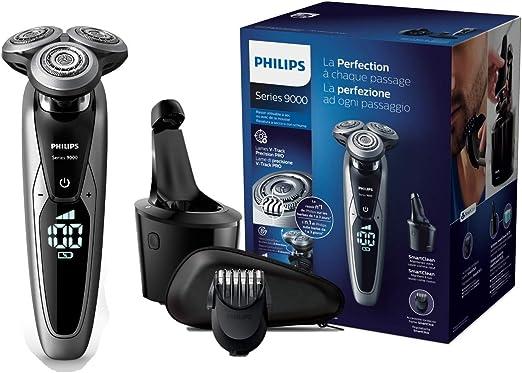 Philips Serie 9000 S9711/32 - Máquina de afeitar con cabezales de 8 direcciones, seco/húmedo, 3 modos y sistema de limpieza SmartClean, incluye perfilador de barba y ...