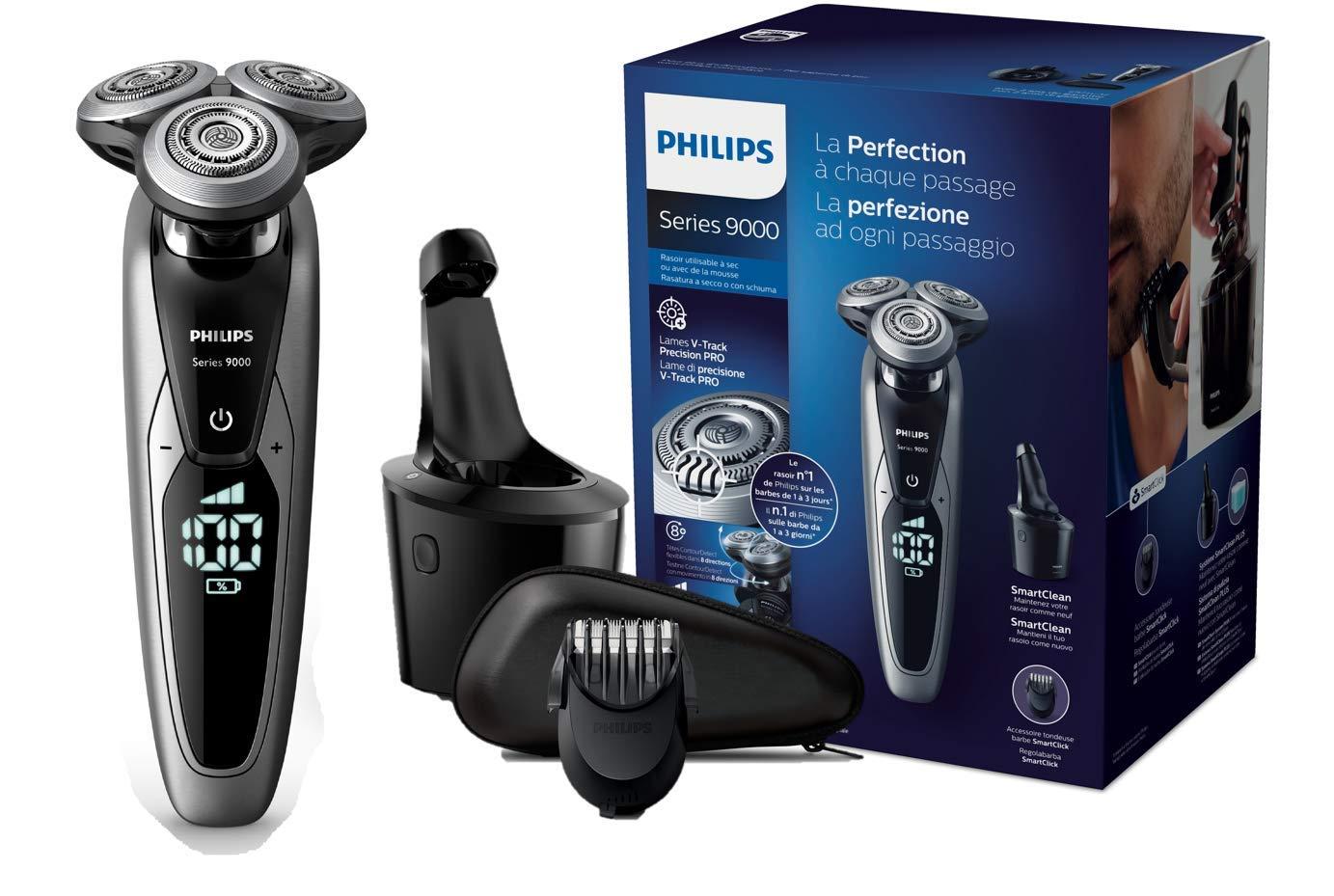 Philips Serie 9000 S9711/32 - Máquina de afeitar con cabezales de 8 direcciones, seco/húmedo, 3 modos y sistema de limpieza SmartClean, incluye perfilador de barba y funda de viaje, plata product image
