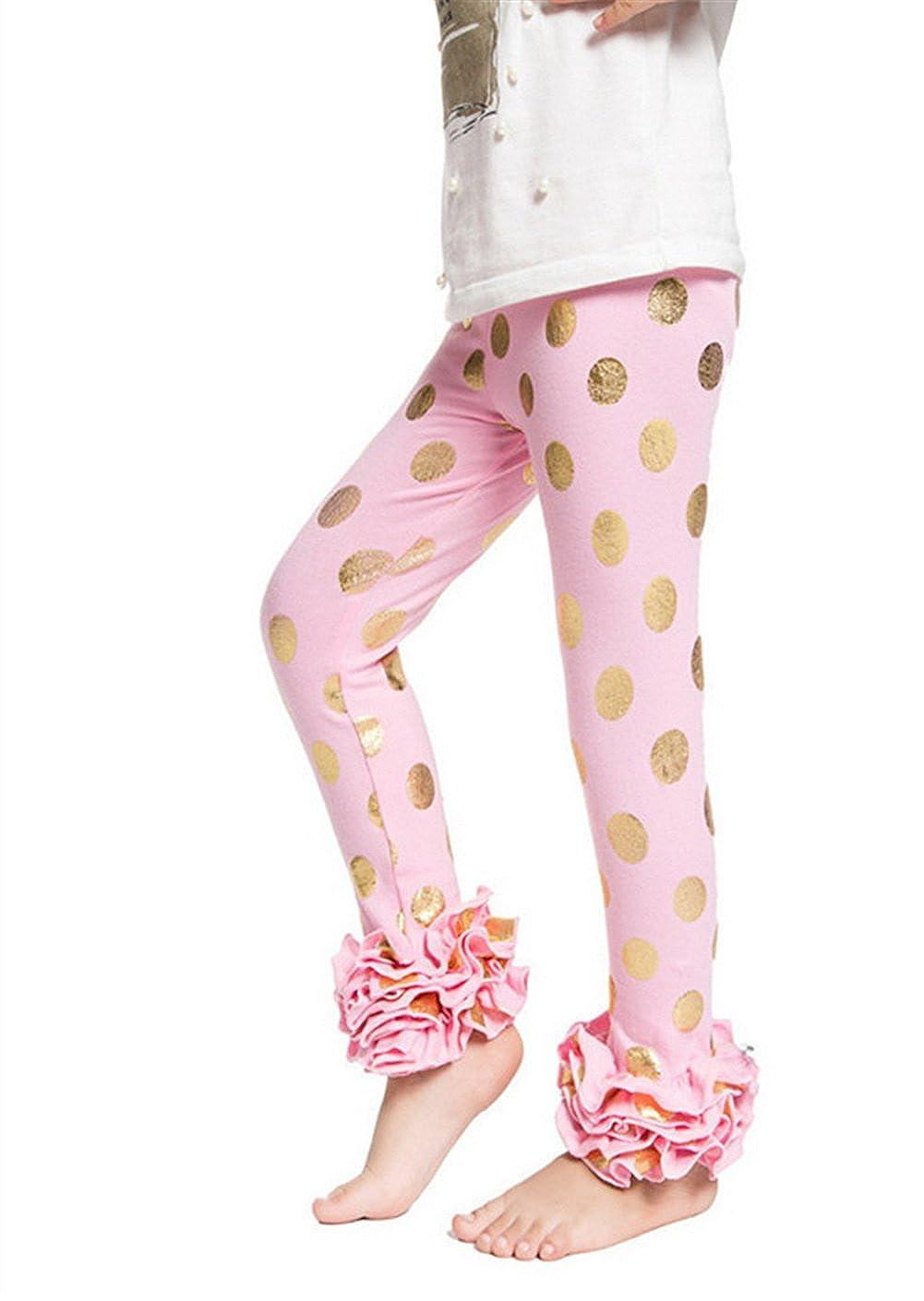 c57b55c3 Amazon.com: Messy Code Baby Girls Ruffle Leggings Pants Toddler Girls Pants  Gold Polka Dot Cotton Ruffle Leggings 0-6 Years: Clothing