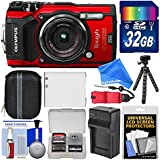 Olympus Tough TG-5 4K Wi-Fi GPS Shock & Waterproof Digital Camera (Red) with 32GB Card + Case + Battery & Charger + Tripod + Float Strap + DigitalAndMore DELUXE Accessory Kit