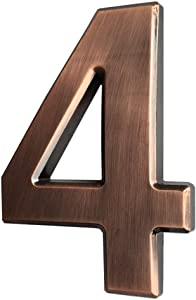 4 Inch Mailbox Numbers 4, 3D Bronze House Number Stickers for Apartment, Home Room, Address Plaque, Metal Shining, by Hopewan. (4, Bronze)