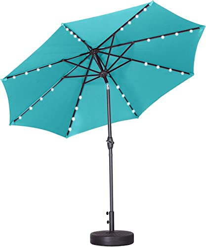Outdoor Basic 9 Ft Patio Umbrella Solar Powered LED Lighted Fade-Resistant Table Umbrella
