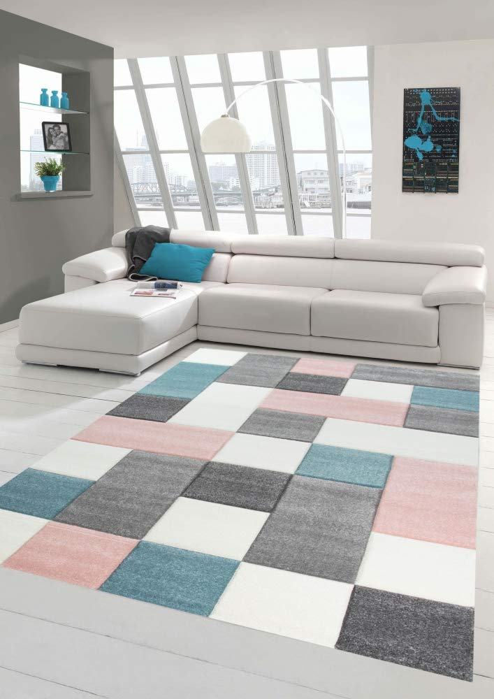 Merinos Wohnzimmer Teppich Design Mit Karo Muster In Rosa Grau Grau
