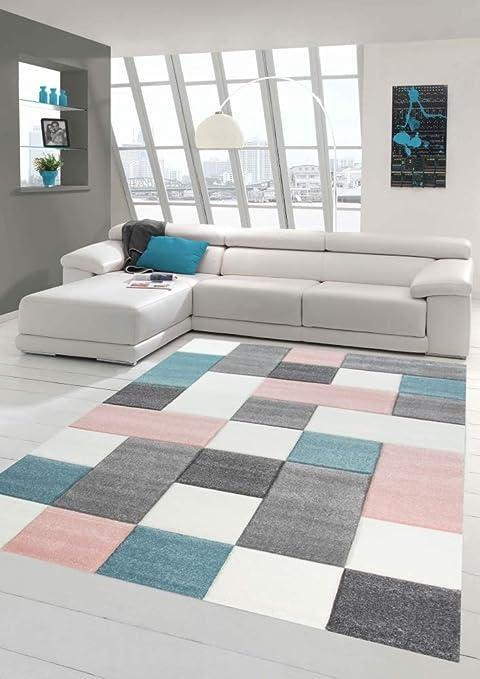 Merinos Wohnzimmer Teppich Design mit Karo Muster in Rosa Grau Türkis Größe  160x230 cm
