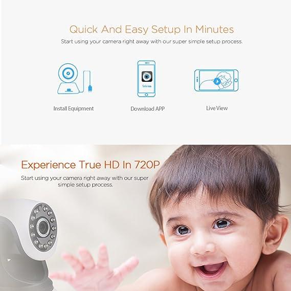 Sricam Cámara de vigilancia IP WiFi Interior inalámbrica 720P Cámara bebé con Visión Nocturna y Detección de Movimiento: Amazon.es: Electrónica
