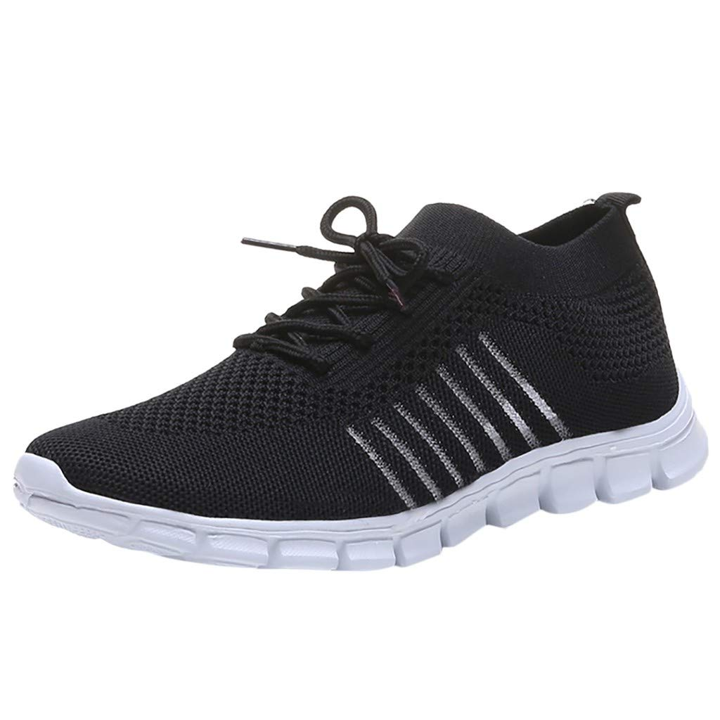 Breathable Shoes Women Sport,Londony❀ Ladies Slip On Walking Shoes Lightweight Casual Running Sneakers Fashion Sneakers Black