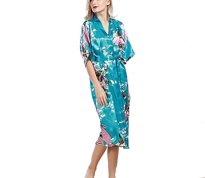 TieNew Albornoz Mujer Largo Pava de Satén Camisón Sexy Kimono Vestido,Mujer Vestido Kimono Pijamas