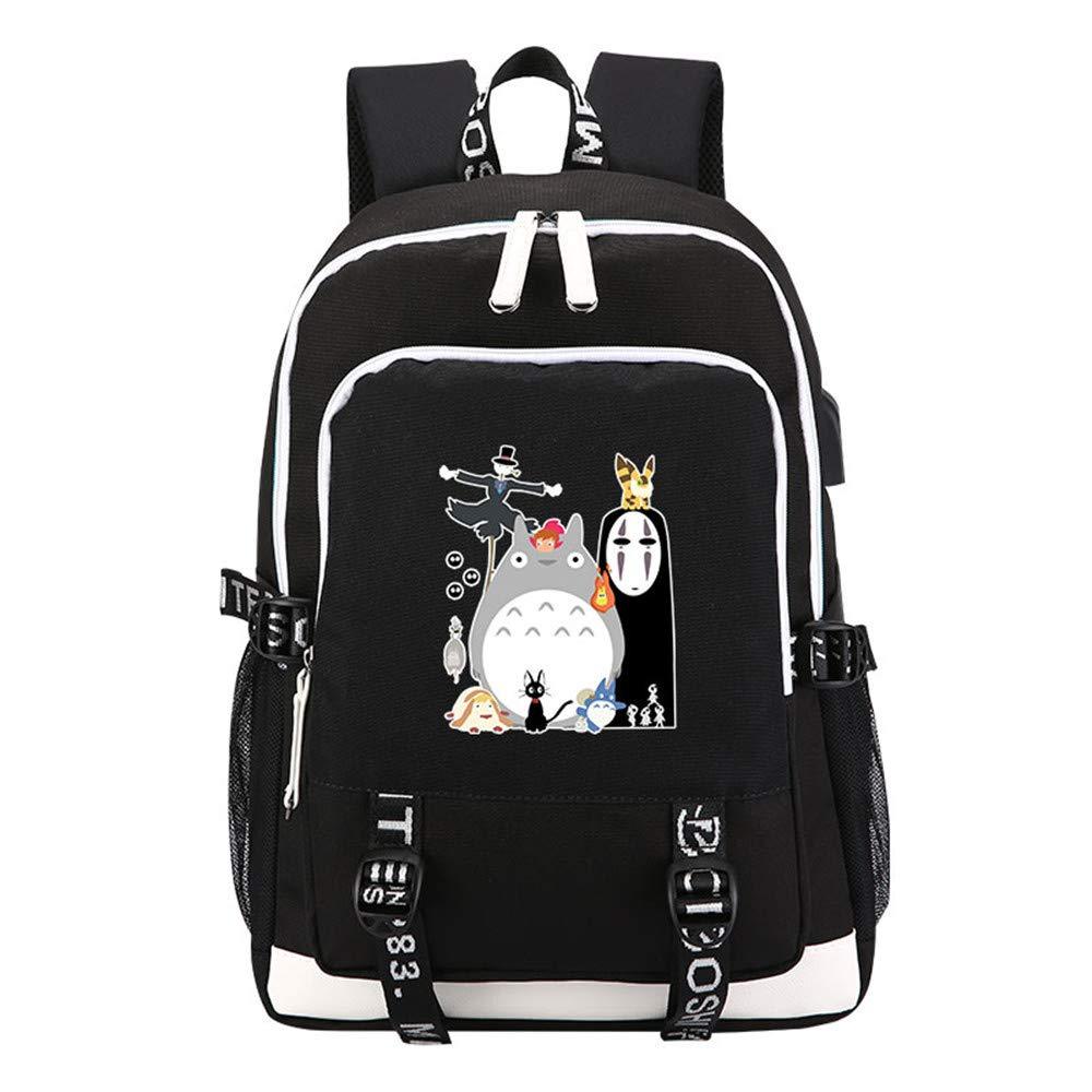 Spirited Away No Face Man Printing Backpack Totoro Kawaii Women Backpack USB Charging Laptop Backpack Canvas School Bag 4