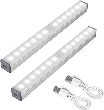 SZMDLX Motion Sensor Closet Lights, Under Cabinet Lights, USB Rechargeable, 14 LED Night Light Bar Portable Wireless Motion Nightlight for Closet Cabinet Wardrobe Stair Step Kitchen, Stick-on Anywhere with Magnetic Strip (2 Pack)