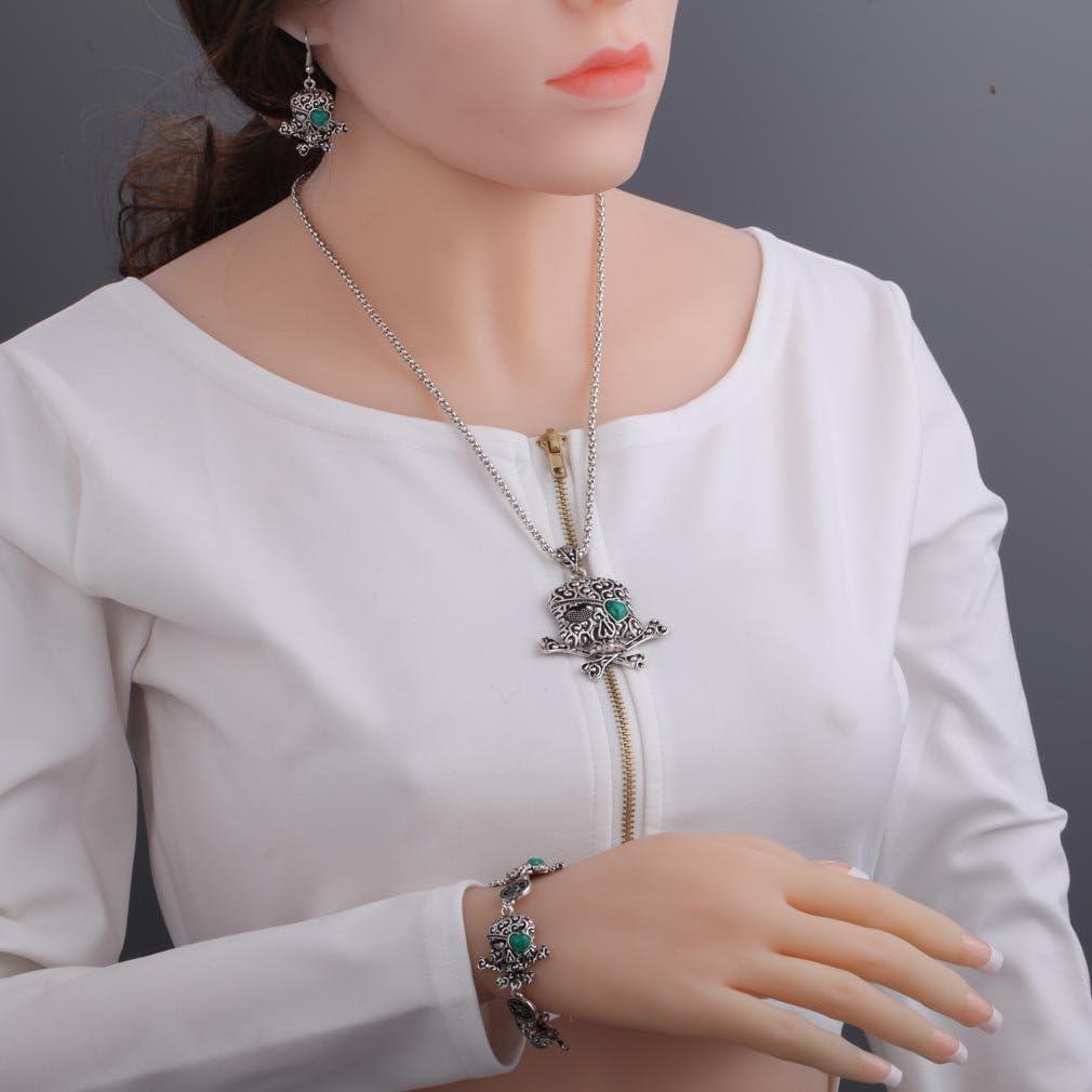 Yazilind Argent tib/étain Pirates des Cara/ïbes Bijoux Collier Pendentif cr/âne Africaine Boucles doreilles Skull Bracelet Ensemble de Bijoux pour Les Femmes