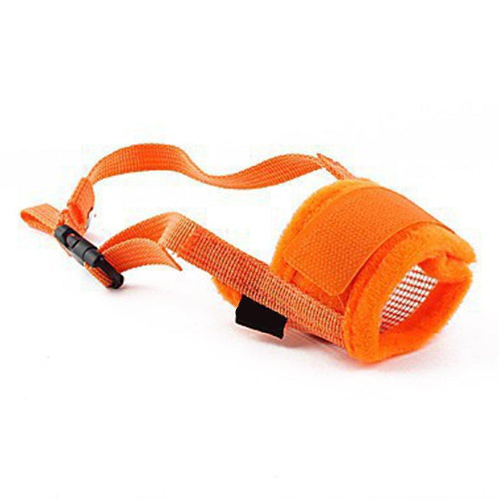 Museruola, prevenire mordere Favolook per piccolo medio grande cani regolabile traspirante morbido abbaiare nylon mesh muso di gatto domestico animali (S, arancio) UK20170901010