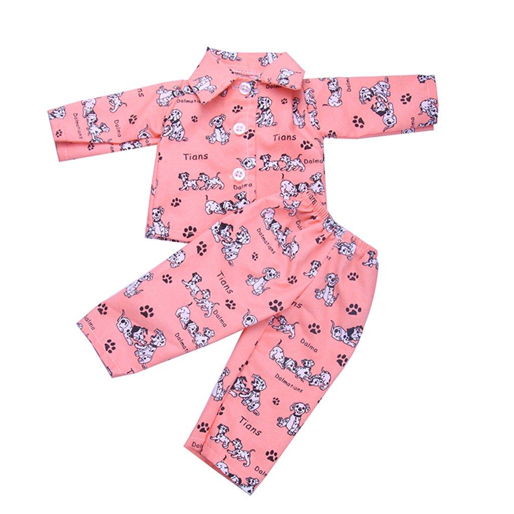 Sharplace Chien Imprim/é Pyjamas Nuit Costume pour 18 American Girl Notre G/én/ération B/éb/é Born Dolls Outfit Rose