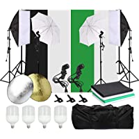 Grandekor 2 x Photography Lighting Stand Kit with Adjustable Backdrop Frame and 2 x Softbox,2 x Umbrella, 4 x Screen Background(1x Green 2x White 1x Black ), 2 x E27 Light Socket, 1 x Carry Bag, 60cm-2 in-1 Reflector