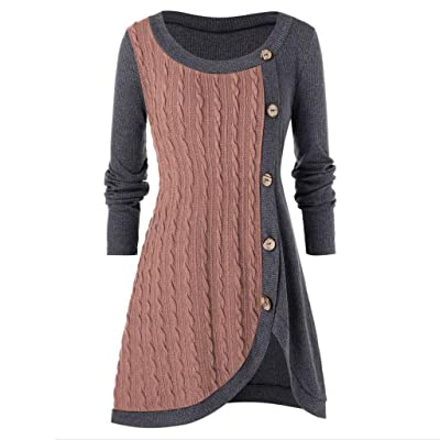 ◆ HebeTop ◆ Plus Size Women Tops O-Neck Long Sleeve Solid Button Patchwork Asymmetric Sweater 2020 Autumn Winter Women: Clothing