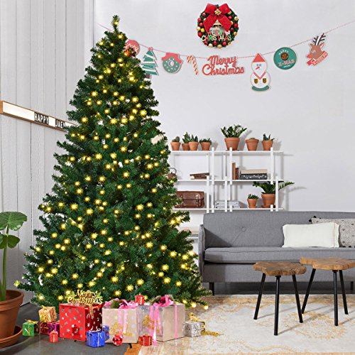 Goplus Pre-Lit PVC Artificial Christmas Tree Auto-spread/ close up Premium Spruce Hinged w/ LED Lights & Metal Stand, Green (7.5 FT)