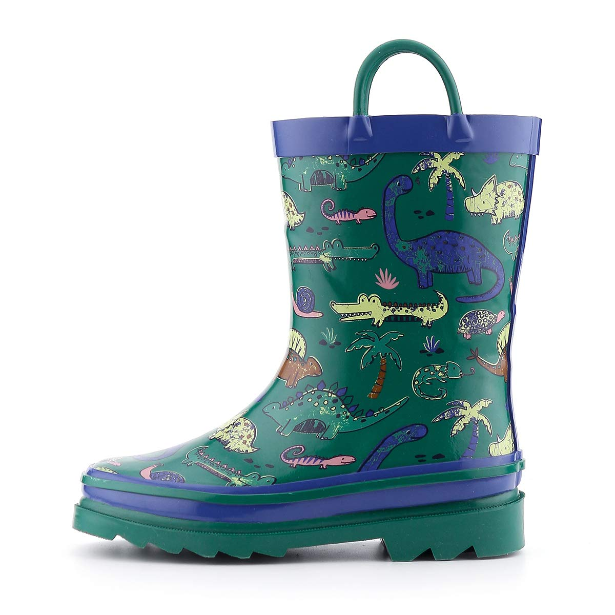 K KomForme Toddler Boy Rubber Rain Boots,Waterproof with Easy-on Handles,Dinosaur,Size 11M
