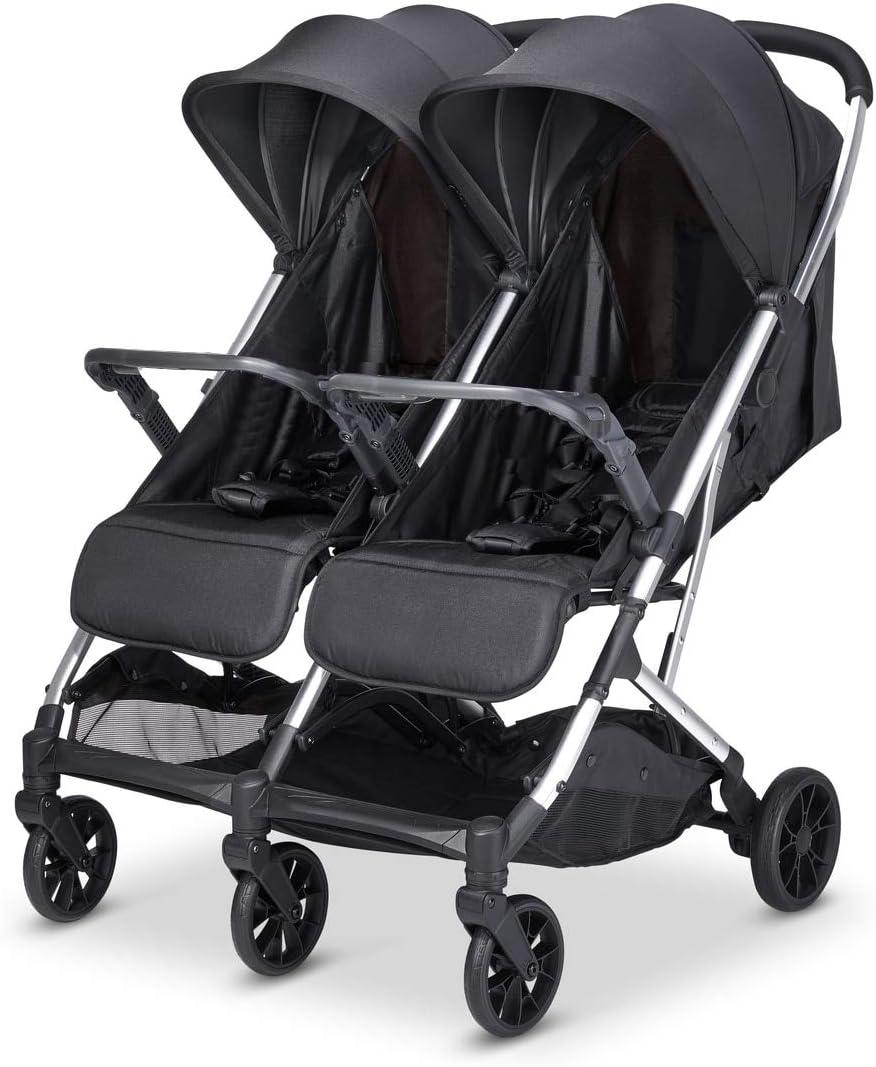 Babify Twin Air Silla de Paseo Gemelar, ligera y compacta - Homologada hasta 22 kg por asiento - Color Negro