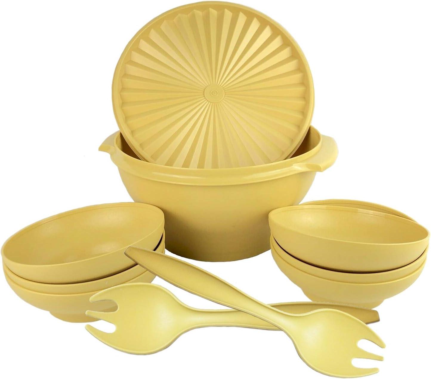 Vintage Gold Tupperware Servalier Salad Bowl NO Lid