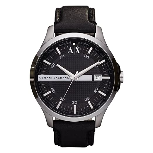 Armani Exchange Men s Black Leather Strap Watch Ax2101  Amazon.co.uk   Watches abe06afcf4