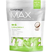 Coromega MAX High Concentrate Omega 3 Fish Oil, 2400mg Omega-3s with 3X Better Absorption...