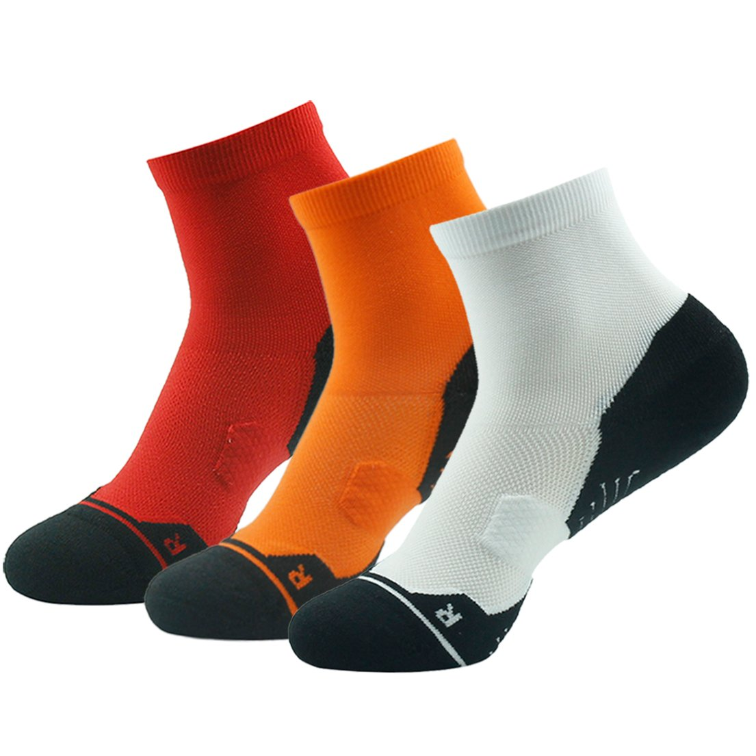 Z3 Pair orange&white&red Running Socks Support, HUSO Men Women High Performance Arch Compression Cushioned Quarter Socks 1,2,3,4,6 Pairs