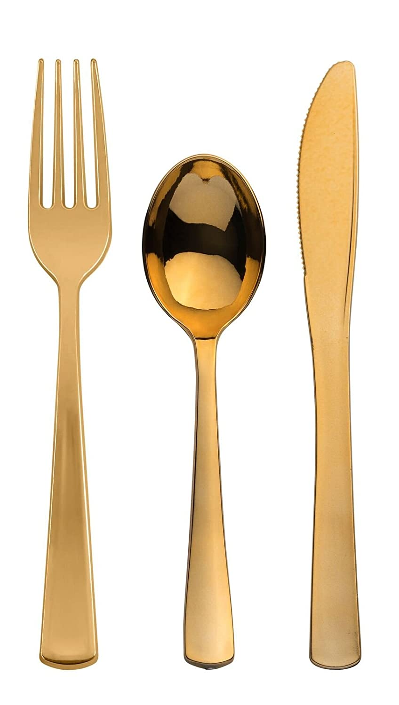 POSH Fuentes del partido | Bari cuadrado marfil con borde dorado valueplastic vajilla paquete para 20 personas | incluye cena y postre platos, cubiertos y ...