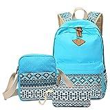 BLOOMSTAR Casual Lightweight Canvas Laptop Shoulder Bag School Backpack + Messenger Bag + Pencil Case (Sky Blue, 3PCS)