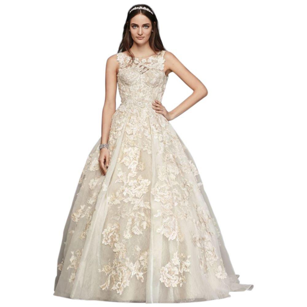 Davids Bridal Extra Length Oleg Cassini Tank Lace Beaded Wedding