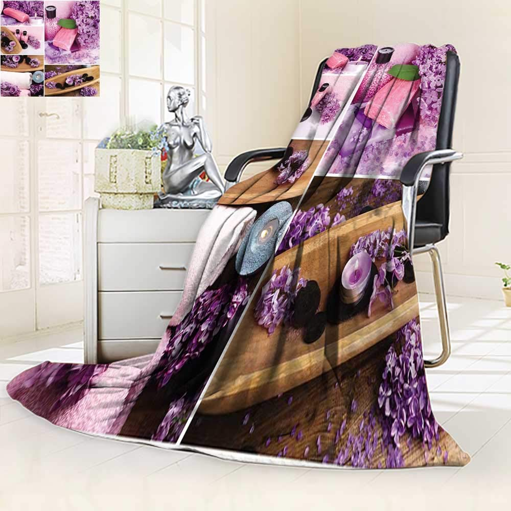YOYI-HOME Luxury Double-Sides Reversible Printed Blanket Lilac spa compositions in Collage Travelling and Camping Blanket/79 W by 47'' H