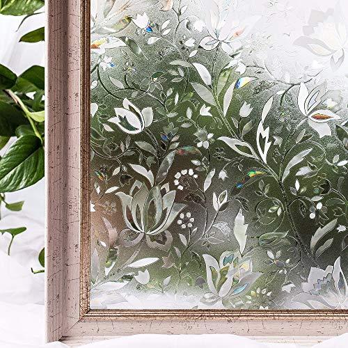 Pechalar - 45 x 200cm Window Privacy Films,Premium No-Glue 3D Static Kitchen Glass Window Film Stickers Home Decor