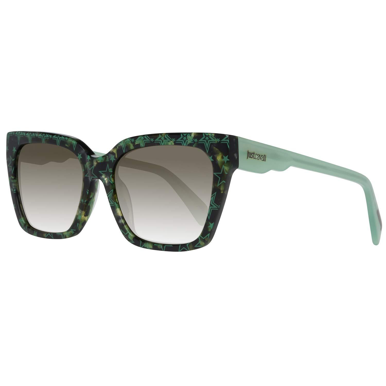 Amazon.com: Just Cavalli JC784S 55P Green Havana Square ...