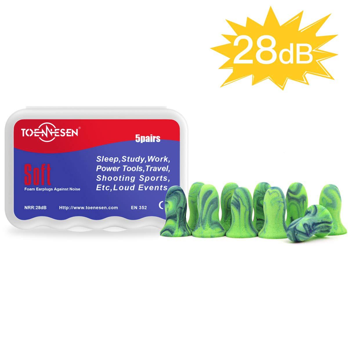 Toennesen Waterproof Ultra Soft Foam Earplugs with Storage Box for sleeping Studying