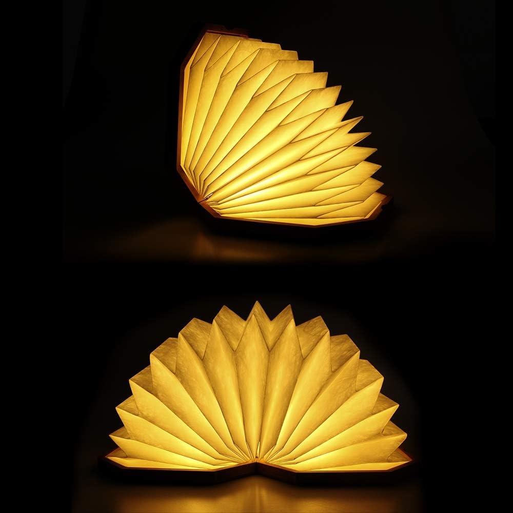 Dekoration Geschenk Vangoal Holz Folding Buch Lampe,LED-Stimmungsbeleuchtung Wiederaufladbar Buchlampe Nachtlicht LED Leseleuchte 360/° Flexibel Schreibtischlampe f/ür Haus